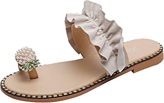 LANSKIRT Sandalias Dedo para Mujer Planas Zapatos Casuales Piña Perla Bohemia Sandalias Playa Zapatillas Verano