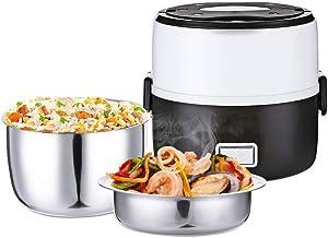ZOUJUN Cuit-Vapeur électrique, Box déjeuner à Vapeur avec Bol en Acier Inoxydable et Plaque Double Couche Box isolée élect...