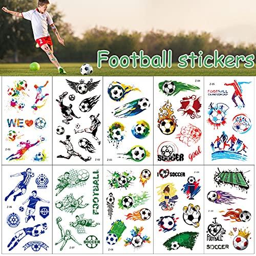 Tattoo Kinder,20 Blätter Fußball Tattoo Aufkleber Set,Fußball Sticker Tattoo,Temporäre Tattoos für Jungen, Tattoo Kindergeburtstag Mitgebsel Fußball Party