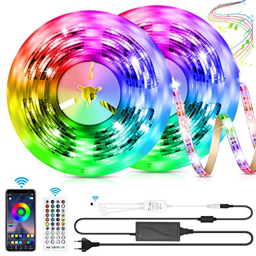 LED Strip 10m LED Streifen, LED Lichtband RGB LED Band 5m*2 mit Fernbedienung Music-Sync Bluetooth LED Leiste mit App Kontroller, SMD5050 Farbwechsel Led Lichterkette für Zuhause TV Küche Party