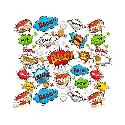 Goldkindzauber DIY Aufbuegler Patch Sticker Applikation Cartoon Sprechblasen BANG Boom Wow Crash BANG POW Aufnaeher Kleidung Patches Zum Aufbügeln (Modell 1)
