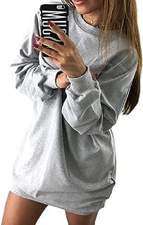 Fieer Womens Mid Long Casual Pure Oversize Crew Neck Top Blouse Sweatshirt