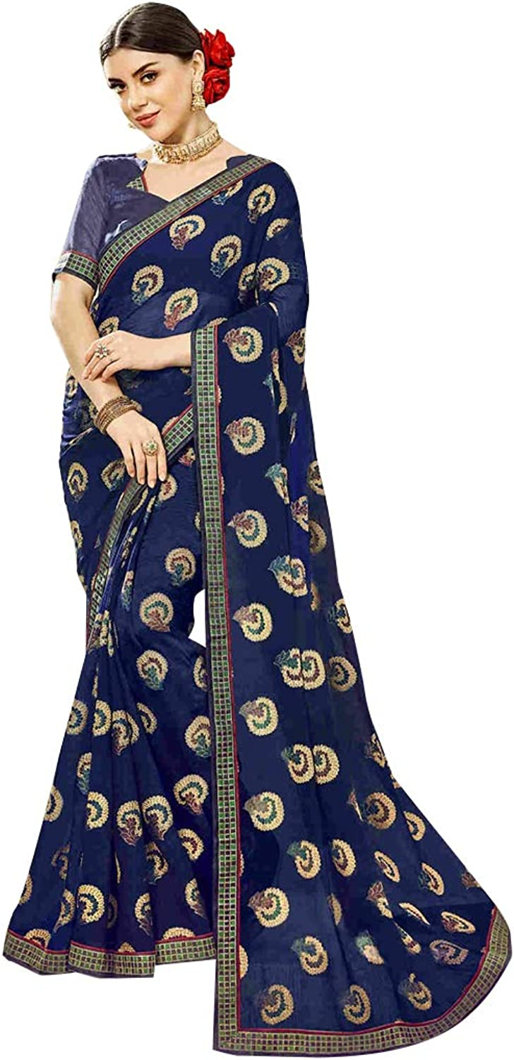 Deep bluee Traditional Indian Designer Printed Saree Women Sari with Blouse piece Party wear collection 7833