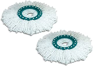 Leifheit 52094 Replacement Disc Mop Head with Absorbent Microfibre with High Water and Dirt Absorption Easy to Change Replacement Mop Set of 2