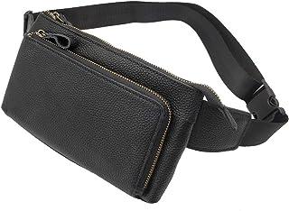 Leather Fanny Pack Waist Bag for Men Women Travel Hiking Running Hip Bum Belt Slim Cell Phone Purse Wallet Pouch Vintage