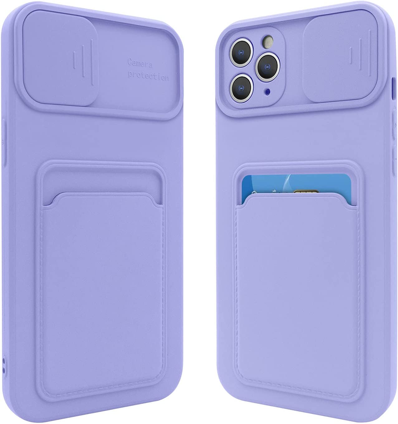 Fsoole iPhone 11 Pro Max Silicone Card Case with Camera Lens Protector, Credit Card Holder Sleeve Shockproof Cover for 6.5 Inch iPhone 11 Pro Max (Purple)
