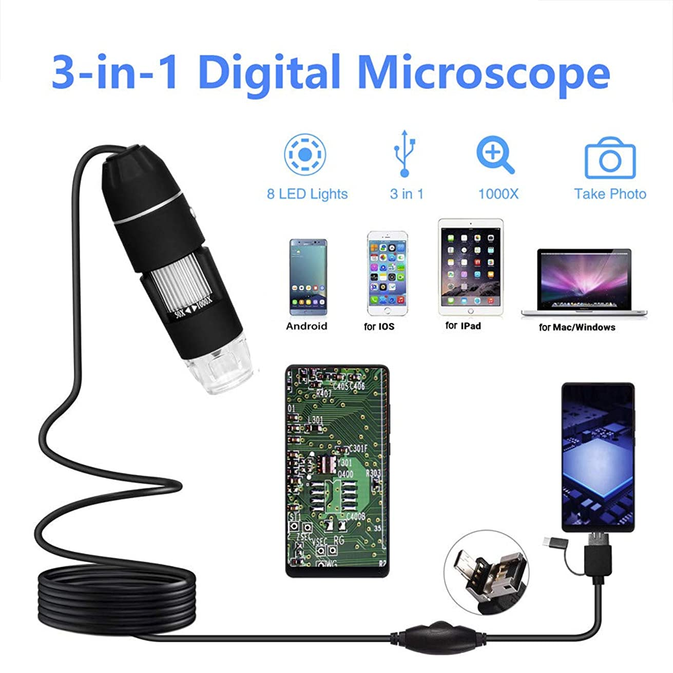 FIged Microscope 300,000 Pixel Three in One USB Type-C OTG HD Electron Digital Microscope for Industry School Home Strong Compatibility