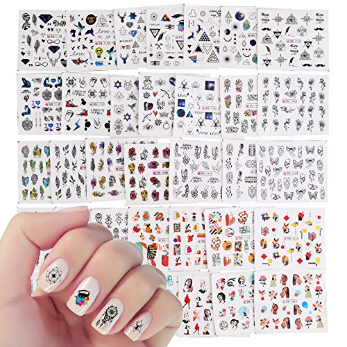 VETPW 36 Sheets Water Transfer Nail Art Stickers Set with Geometry Flowers Love Heart Dreamcatcher Deer for Nail Art Decoration, DIY Nail Art Tattoo Decals Design Manicure Accessories