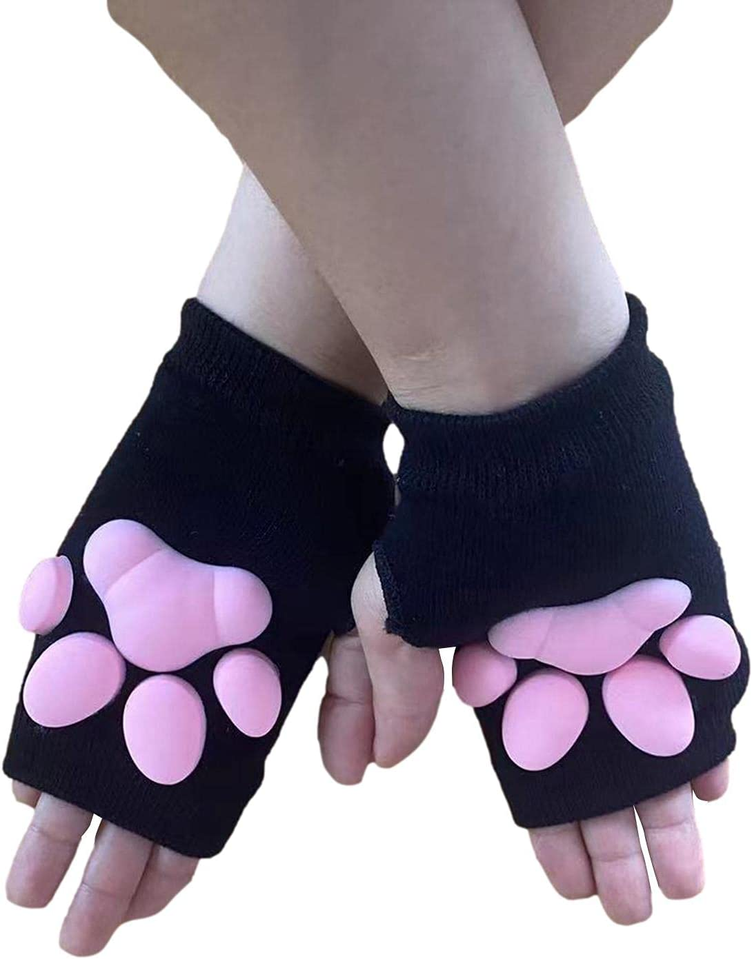riskaLa Cute Cat Paw Mittens Gloves, 3D Cat Claw Pad Gloves,Cat Lolita Cosplay Hand Sleeves for Girls Women