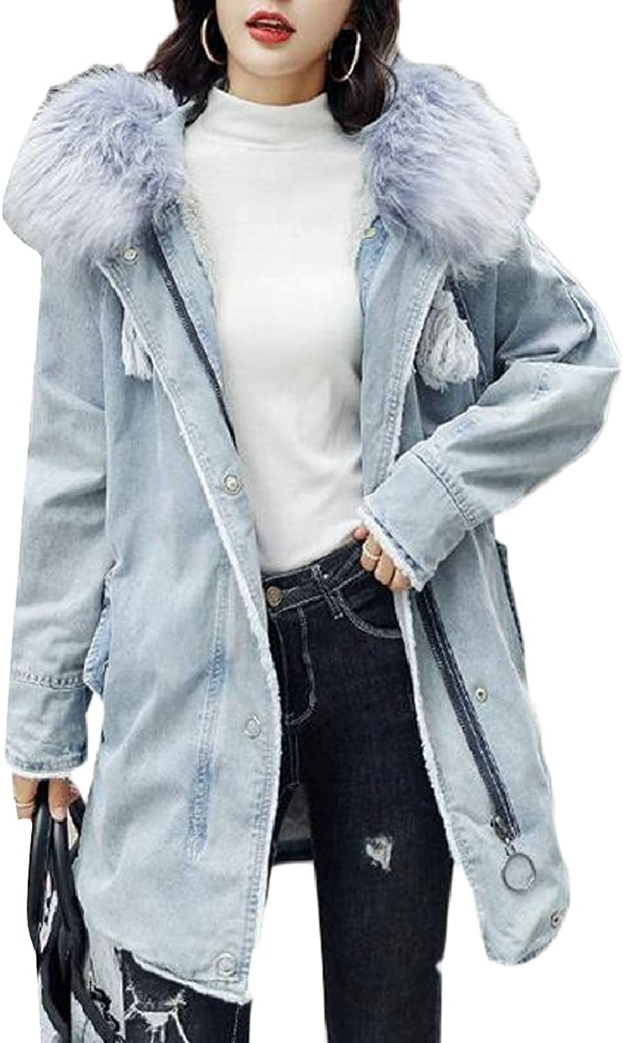 LEISHOP Women's Sherpa Lined Trucker Denim Jacket with Faux Fur Hoodie