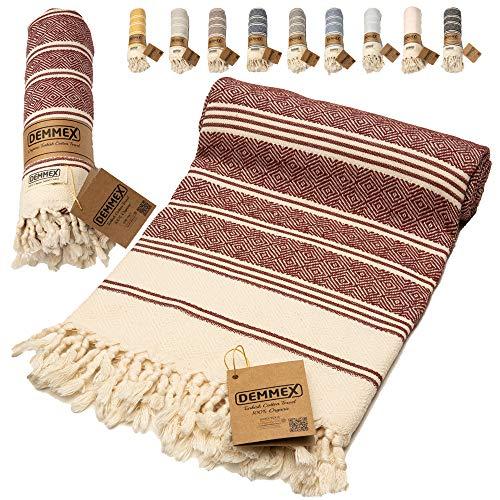 DEMMEX - Toalla de algodón turco con certificado 100% orgánico y tinte orgánico prelavado XL,...