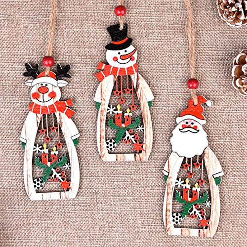Lemoning Christmas Decorations for Living Room, 3Pc Christmas Decorations Wooden Santa Claus Hollow Pendant Decorations