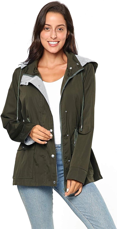 KENANCY Women Lightweight Waterproof Rain Jacket Raincoats Trench Coat with Hood