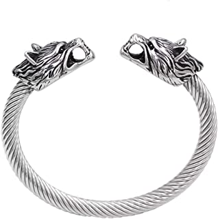 GuoShuang Nordic Viking Odin Wolf Stainless Steel Amulet Norse Bracelet -Adjust Size Suit to 21cm - 25cm