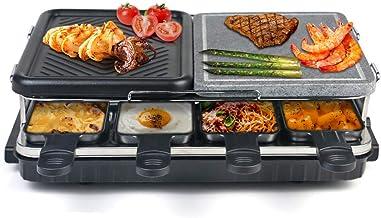 Raclette 8 Personnes, Appareil a Raclette avec Pierre Naturelle et Plaque en Fonte Raclette Multifonction 2-IN-1 pour 8 pe...