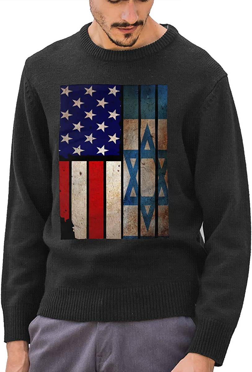 Men's Vintage USA Israel Flag Round Neck Long Sleeve Basic Pullover Sweater Winter Tops