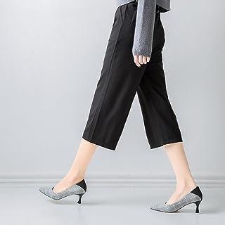 DIDIDD Zapato único Puntiagudo Fino con Tacones Altos Zapatos de Tacones Bajos Salvajes,Segundo,35
