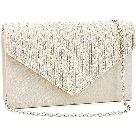 SAIBANGZI Ladies'Large Shiny Umschlag Clutch Bag Pailletten Abend Clutch Geldbörse Braut Hochzeit Tasche Crossover Umhängetasche Abend Handtasche Prom Bag-Beige,21 × 5 × 13 cm