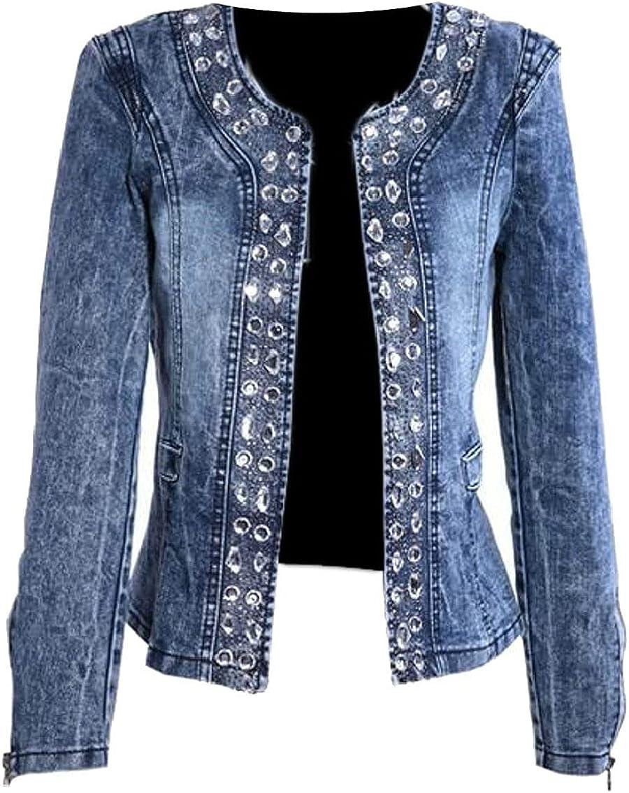Collarless Slim Fit Rhinestone Sequins Jeans Denim Jacket for Women Vintage Long Sleeve Rhinestone Slim Fitted Coat