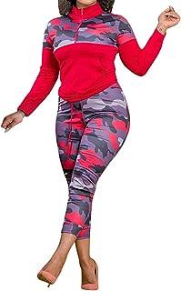Aro Lora Womens Plus Size 2 Piece Tracksuit Outfit Camo Print Sweatshirt and Pant Set