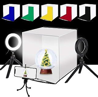 PULUZ 30cm 撮影ボックス+4.6インチLEDリングライト*2 撮影キット 折畳みソフトボックス 6色背景色(赤/緑/黄色/青/白/黒)リングライト付きの写真撮影ブース 簡易スタイジオ 折り畳み式&携帯型&組立簡単&収納便利 サイズ:3...