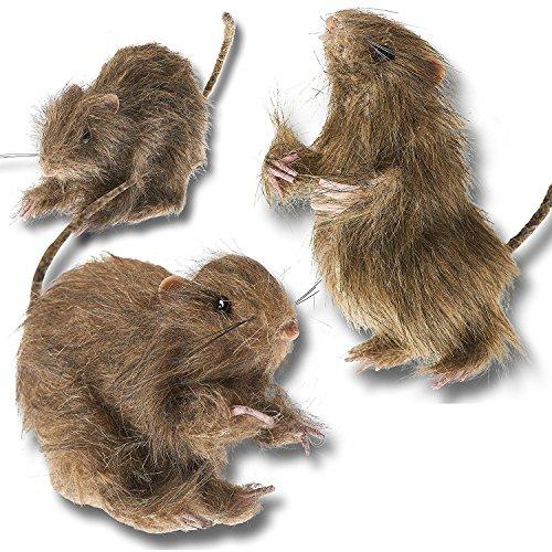 Prextex realistische haarige Mini-Ratten zur Dekoration für Halloween