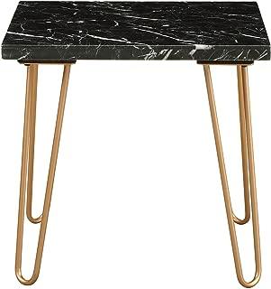 "Major-Q 21""H Square Mid-Century Modern Style Black Marble Top Gold Metal""V"" Shape Leg End Table (9084507)"