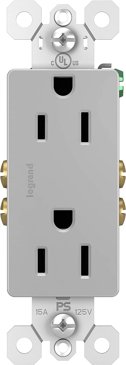 Legrand radiant 15 Amp Receptacle Decorator Outlet, Gray, 885GRYCC12