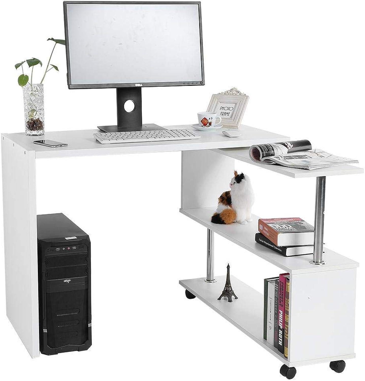 EBTOOLS Bürotisch, Drehbarer Eckschreibtisch L-Form Schreibtisch Computertische für Heim und Büro, 100  48  75 cm + 70  25,5  70 cm (Wei)