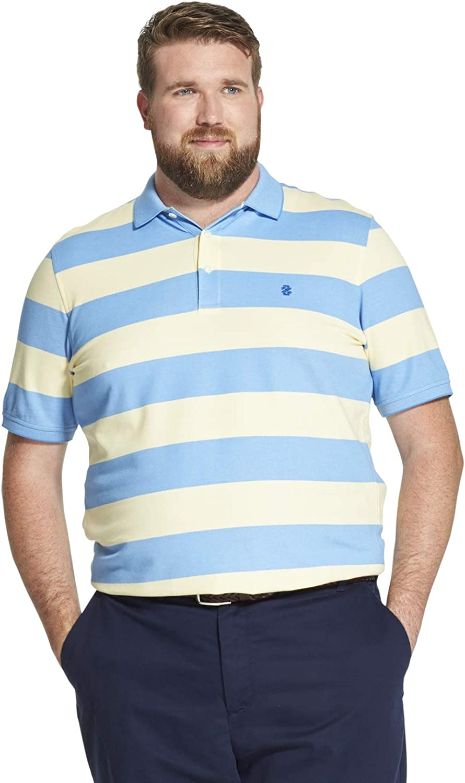 IZOD Advantage Performance Polo Blue Striped Short Sleeve Shirt New Mens Large