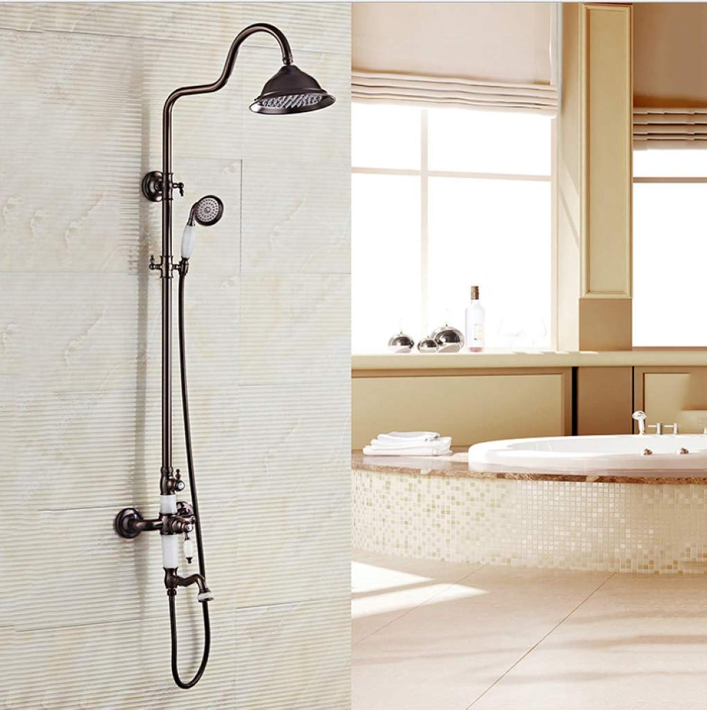 FOTEE Duschbrause Duschsystem, Alle Kupfer Schwarz Europische Retro-Dusche, hilft die Haut zu befeuchten, bringen die ultimative Dusche Erfahrung