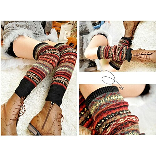 GGG Neu Frauen Winter Warm Lang Beinstulpen Häkelarbeit Socken Legging Strumpf (Schwarz)