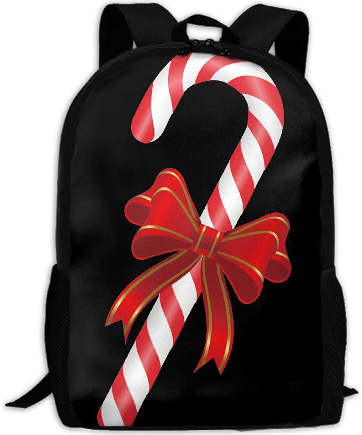 6303465a2eb6 Candy Cane Outdoor Shoulders Fabric Backpack Multipurpose Daypacks ...