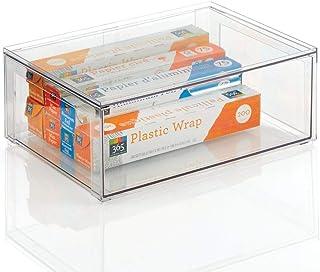 mDesign grande boite alimentaire – boite de rangement plastique robuste pour les produits alimentaires – boite empilable p...