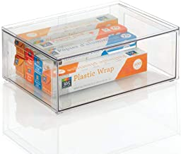 mDesign Plastic Stackable Kitchen Storage Box with Pull-Out Drawer - Container for Kitchen, Pantry, Cabinet, Fridge/Freeze...