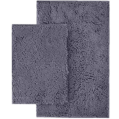 LuxUrux Bathroom Rugs 2-Peice Set, Extra-Soft Plush Bath mat Shower Bathroom Rugs,1'' Chenille Microfiber Material, Super Absorbent (Rectangular Set, Dark Grey)