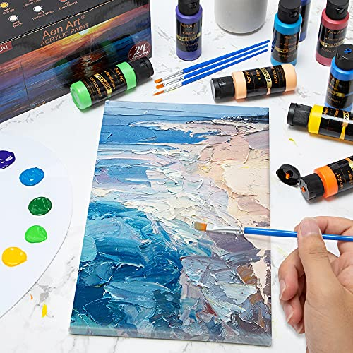 Aen Art Acrylic Paint, Set of 24 Colors Craft Paint Supplies for Canvas, Painting, Wood, Ceramic & Fabric, Rich Pigments Non Toxic Paints for Artists & Hobby Painters, 2 fl oz / 60 ml Bottles
