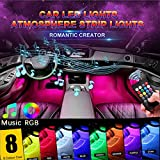 GOADROM Car LED Strip Light, 4pcs 48 LED DC 12V Multicolor Music Car Interior Lights LED Under Dash Lighting Atmosphere Neon Lights Kit with Sound Active Function and Wireless Remote Control