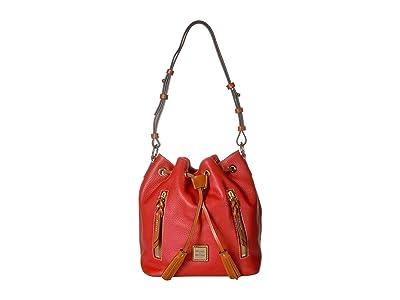 Dooney & Bourke Pebble Cooper Drawstring (Red/Tan Trim) Drawstring Handbags