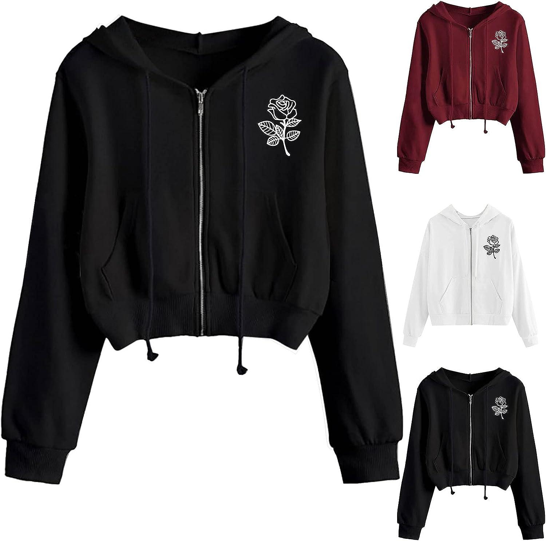 Hotkey Hoodies for Women, Womens Zip Up Sweatshirt Rose Print Hooded Pullover Casual Loose Long Sleeve Crop Tops with Pocket