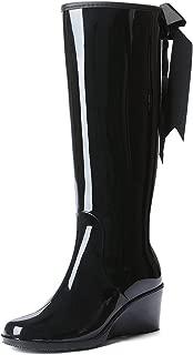 Women's Wedge Knee High/Mid Calf Rain Boots Bow-Tie Side Zipper Waterproof Shoes Wellies