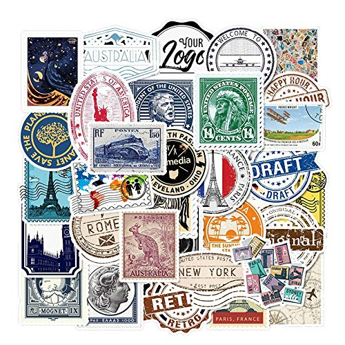 50Pcs Vintage Stamp Stickers Retro Travel Stickers Suitcase Sticker Decals Toys for Laptop Luggage Sticker Phone Sticker