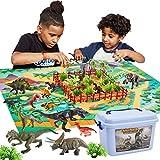 Buyger 58 Piezas Dinosaurios Juguetes Figura Realista Dinosaurio Mundo con Alfombra de Juego Regalos Juguetes Educativos para Niños Niña Infantiles