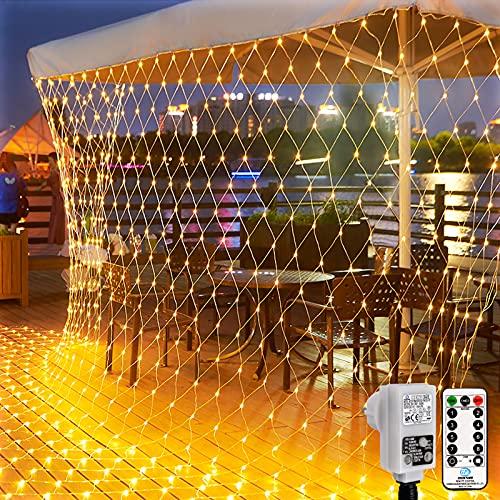 200 LED Cortina de Luces Exterior 3mx2m , 8 Modos Luz Cortina con temporizador Regulable Impermeable, Blanco Cálido ,Cadena Luces Decorativa para Fiesta, Boda, Jardin, Navidad