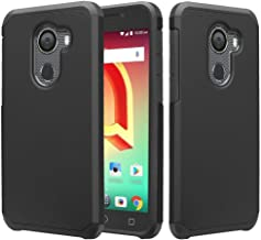 Jitterbug Smart 2 5.5inch (2018) Case, w/ Temper Glass Screen Protector Shock Proof Silicone Hybrid Dual Layer Defender Protective Case Cover for Jitterbug Smart 2 Easy-to-Use 5.5 - Black