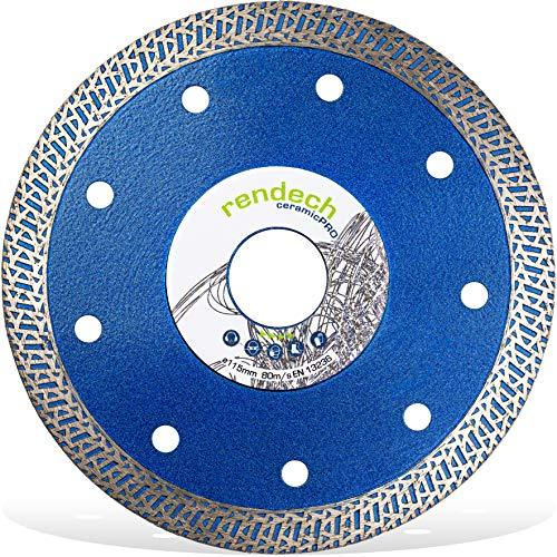Rendech® Diamantscheibe 115mm für Fliesen, Feinsteinzeug, Granit, Keramik uvm. Profi Qualität mit TurboCut Segmenten