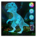 Dinosaur Toys Night Light for Kids,Valentines Day Gifts for Kids, Dinosaur Gifts 3D Night Lights for Boys, T Rex Lamp Gifts for Age 2 3 4 5 6 7 Years Old, 16 Colors Remote Control and Smart Touch