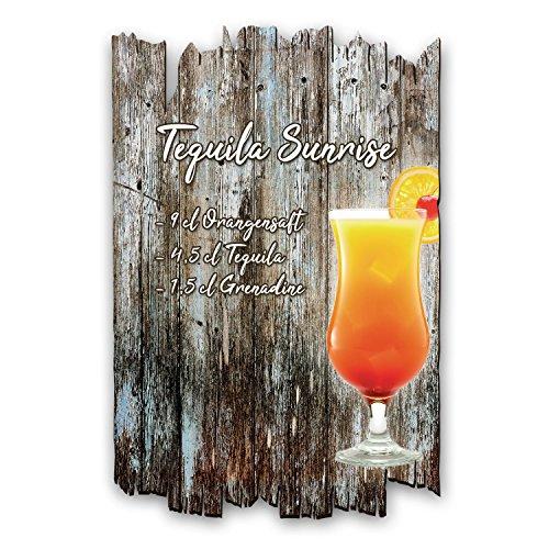 Creatieve veer Tequila Sunrise Cocktail Recept Houten bord Shabby Chic landelijke stijl - muurdecoratie voor thuis - ideaal als cadeau voor familie en vrienden 30x20cm