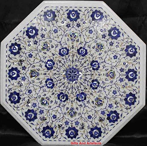 Gifts And Artefacts Table Basse en marbre Piétra Dura Art Lapis Lazuli Pierre Semi-précieuse 53 cm