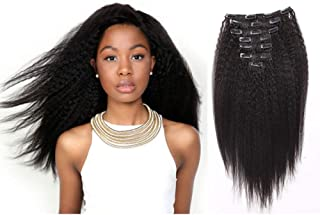 AmazingBeauty Clip In Extensions Kinky Straight Italian Yaki Clip Ins 8A Grade 100% Remy Hair Natural Black 10-22inch 7 Pieces with 18 Clips 120g/4.2oz per Set Fit For Full Head 12 inch